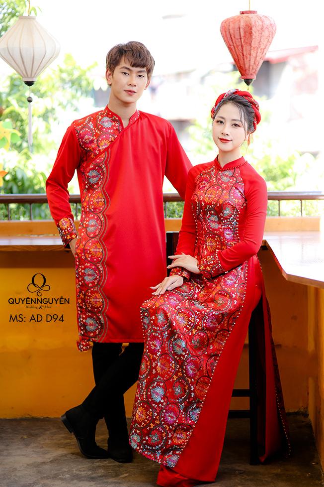 Áo dài cưới đỏ họa tiết gấm cung đình