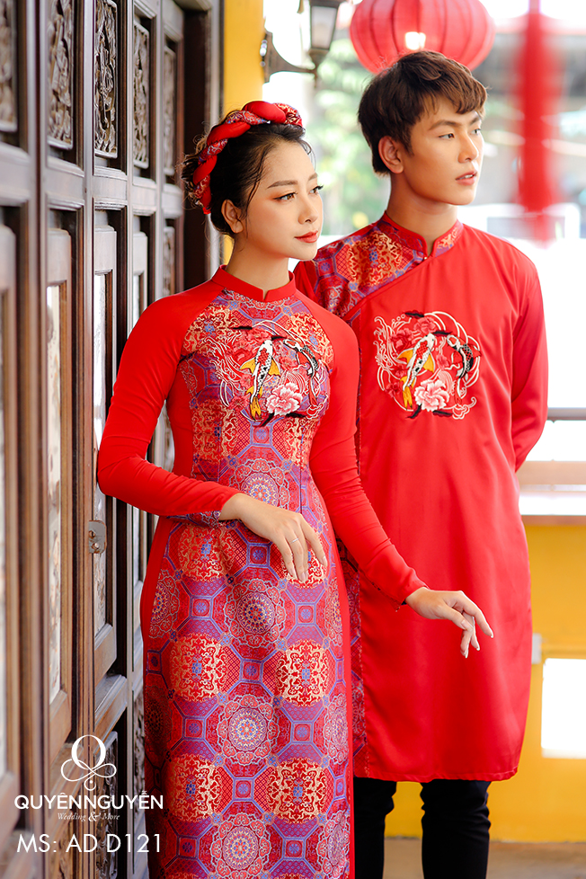 Áo dài cưới đỏ gấm thêu cá chép vàng