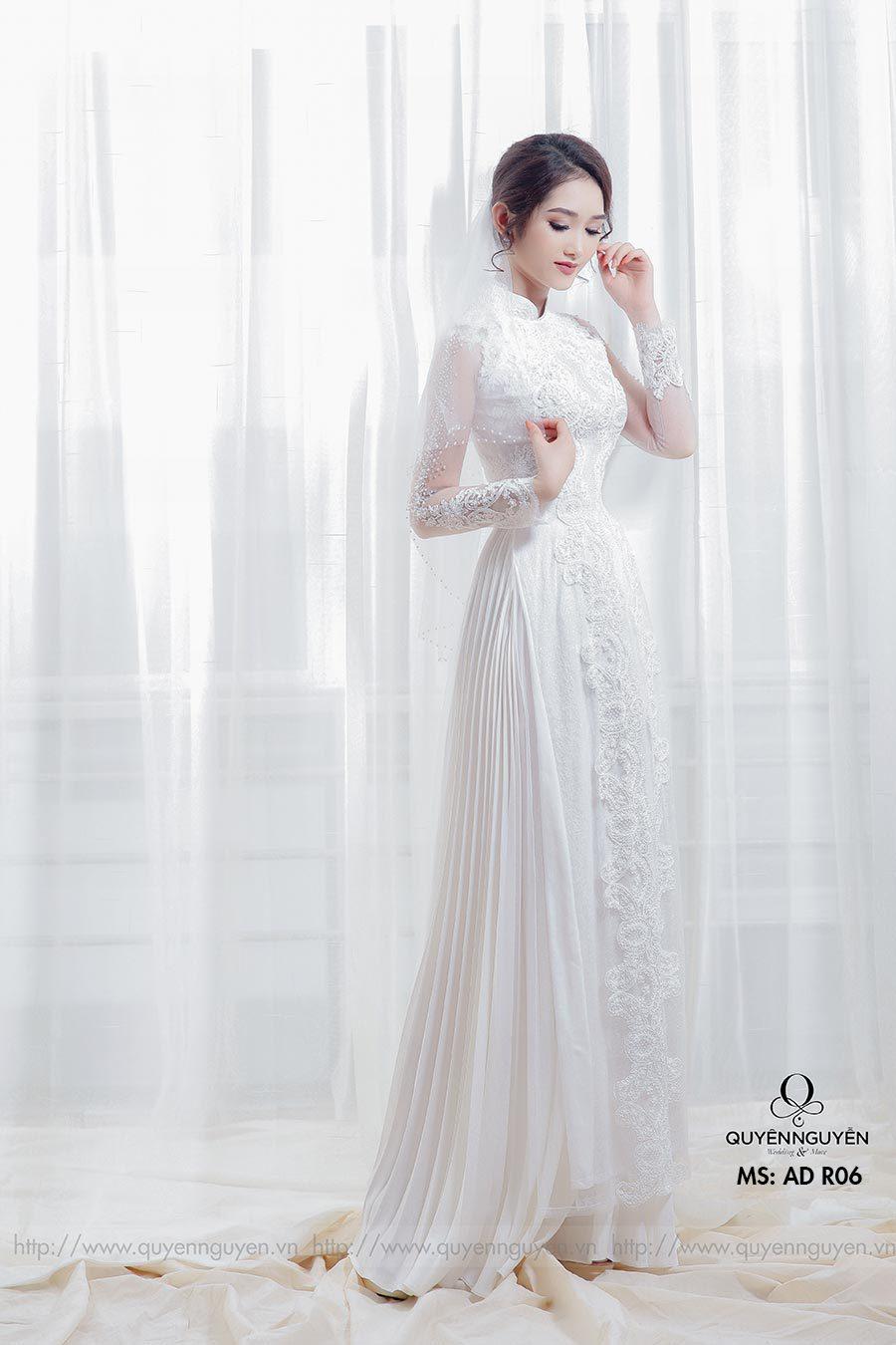 6 mẫu áo dài cưới 2020 ren trắng thanh lịch và quyến rũ cho các nàng dâu