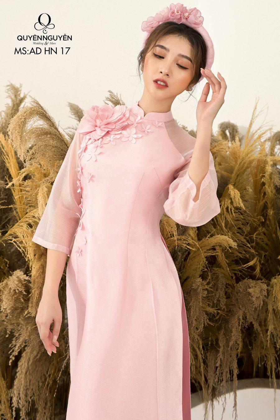 Những mẫu áo dài hồng được ưa chuộng nhất tại Quyên Nguyễn Bridal