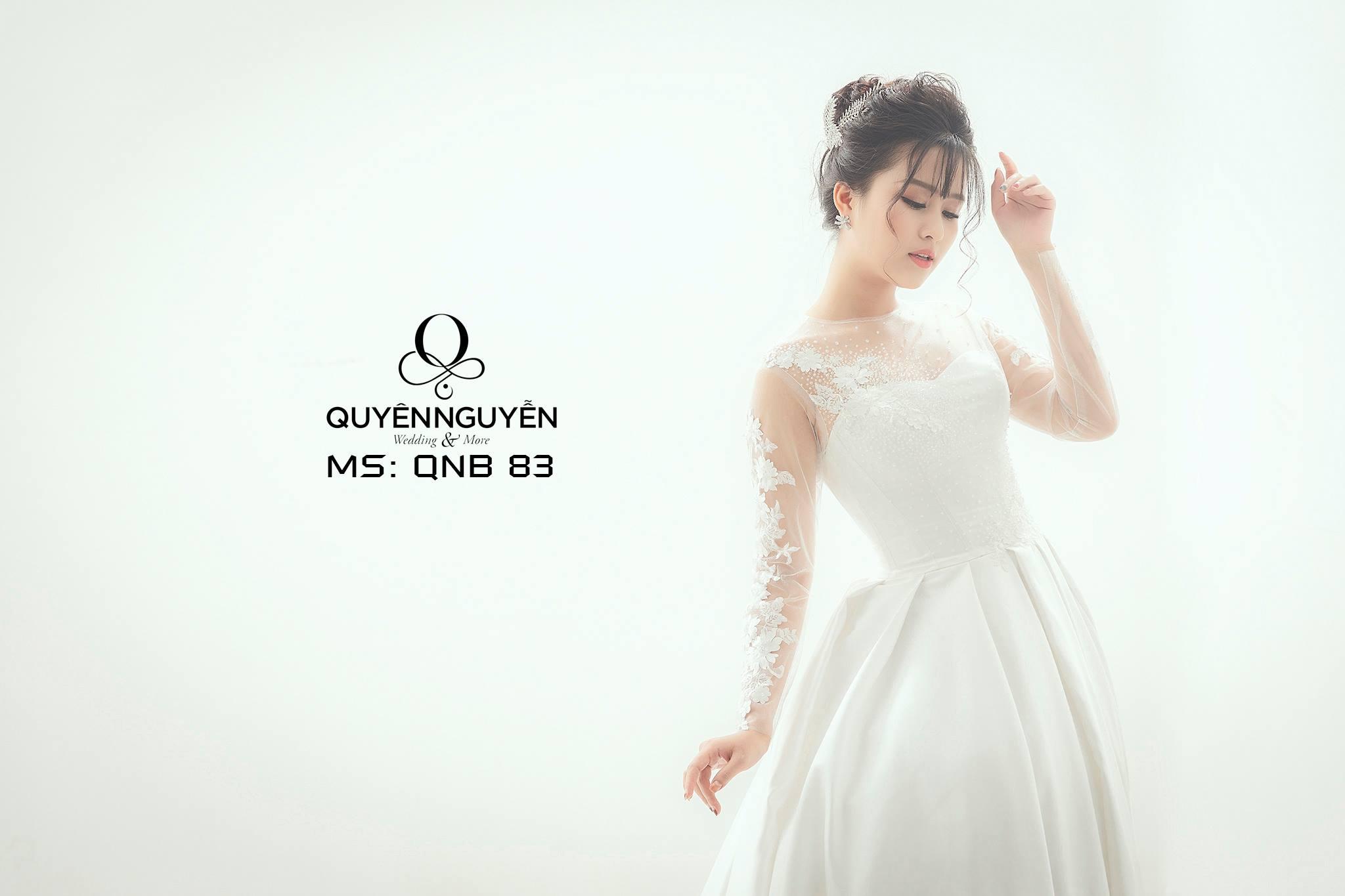 Váy cưới dài tay hoa ren QNB83