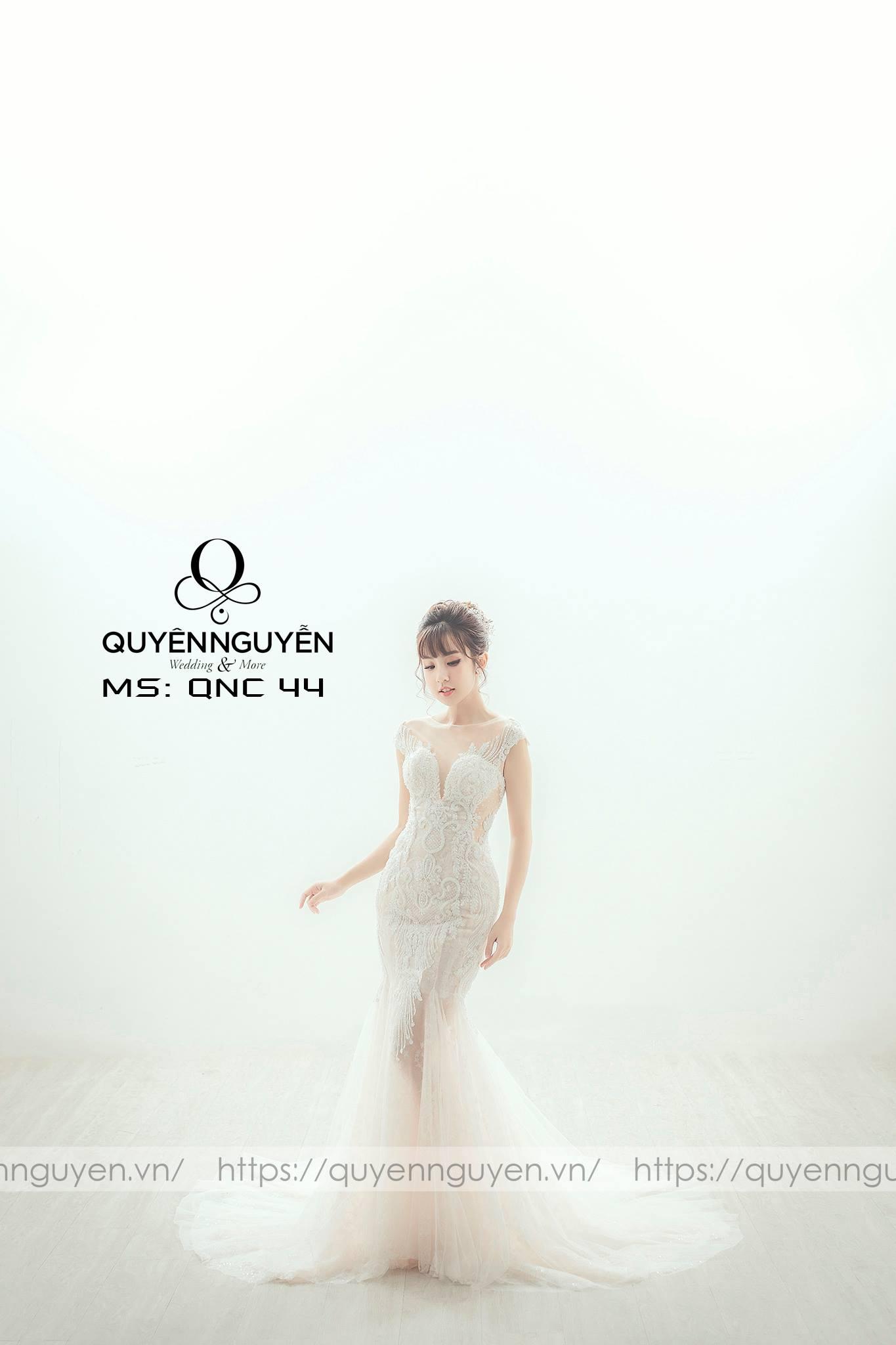 Váy cưới đuôi cá ren đuôi dài QNC44