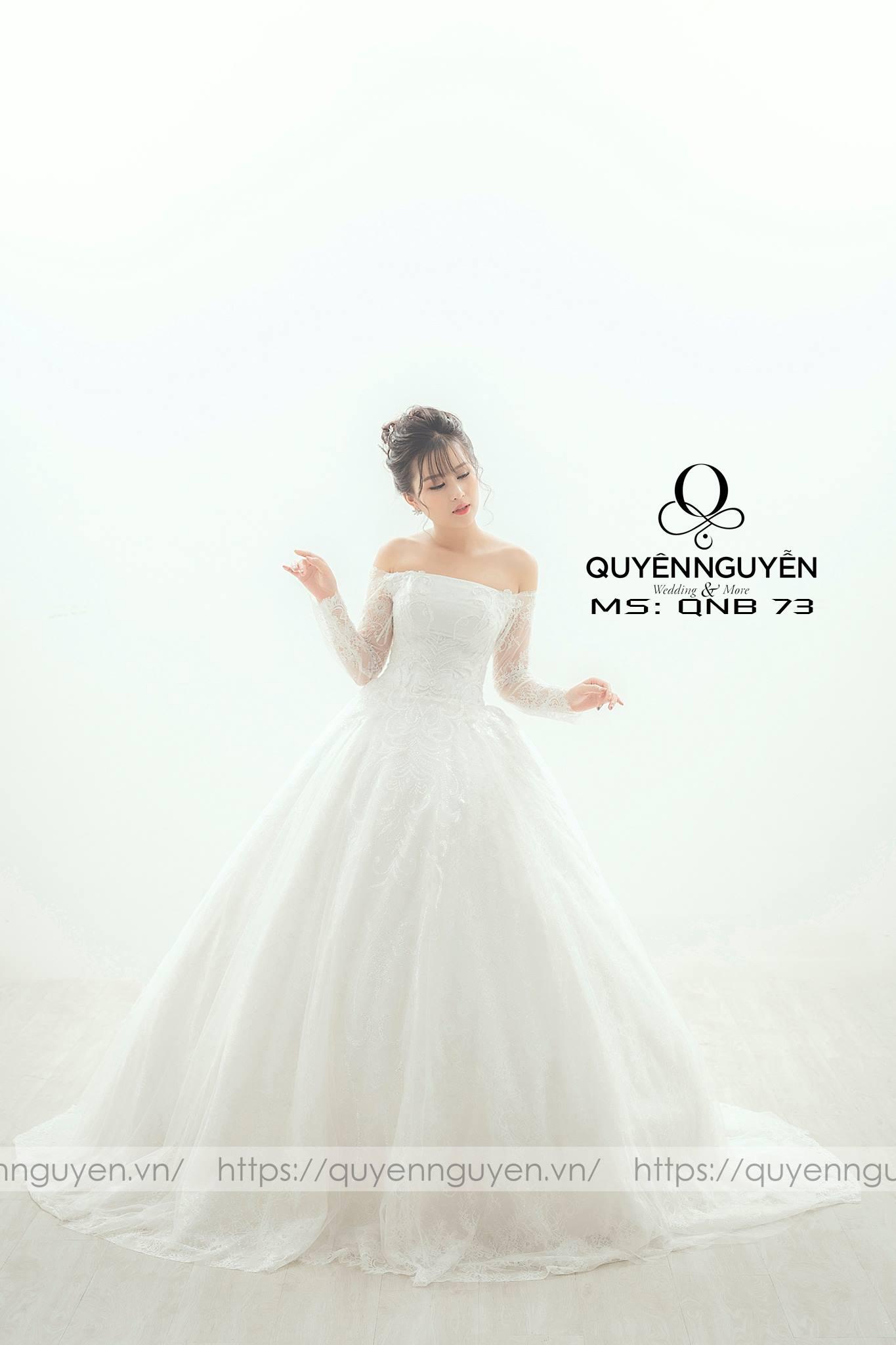 Váy cưới cúp ngực tay dài QNB73