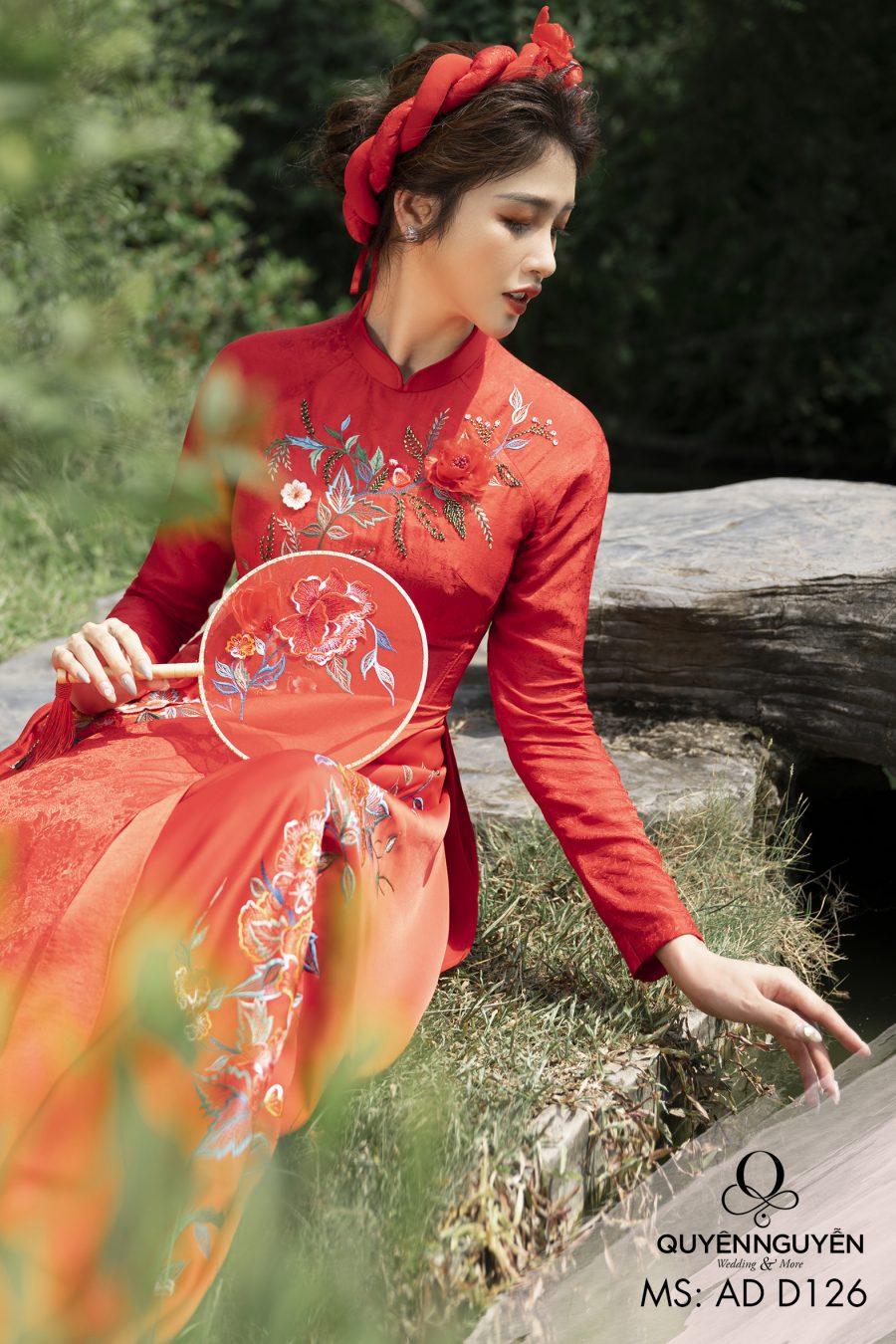 Áo dài đỏ ADD126 gấm thêu hoa