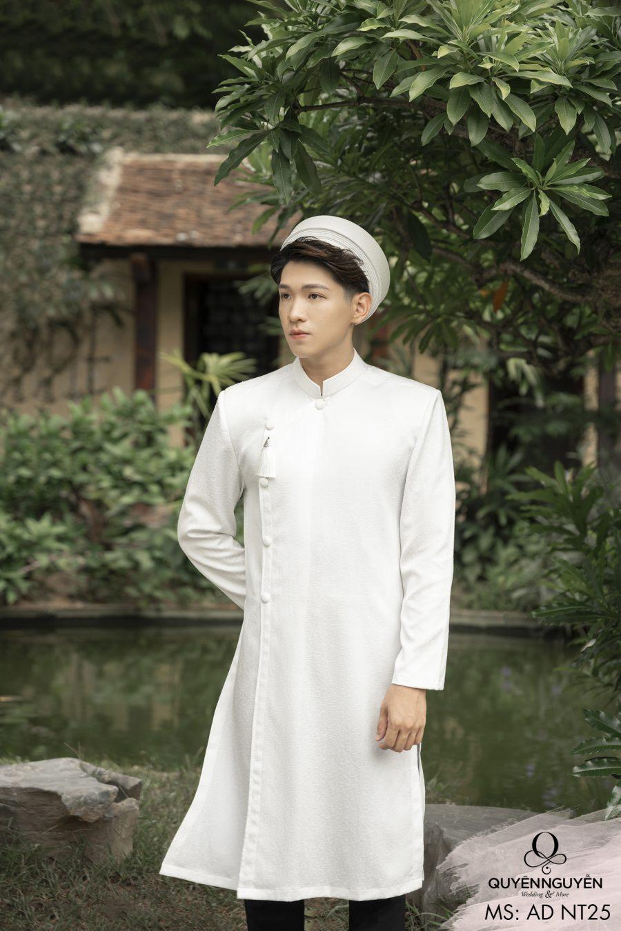 Áo dài nam trắng trơn ADNT25