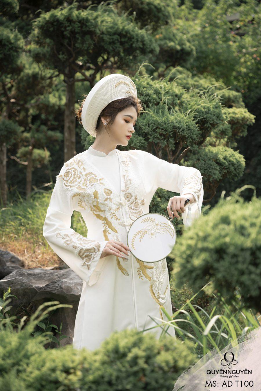 Áo dài đôi màu trắng ADT100