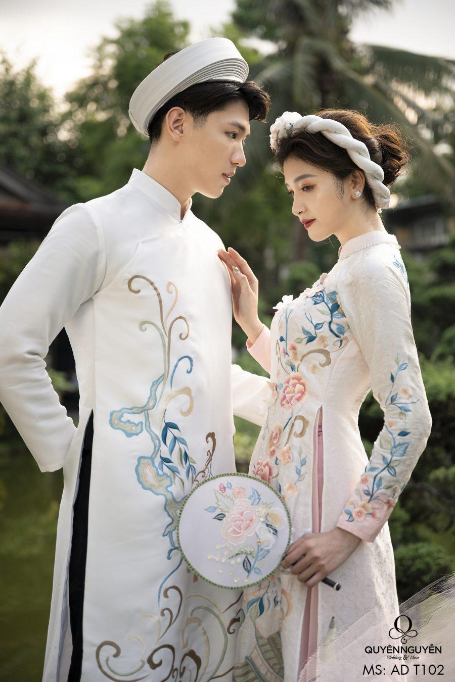 Áo dài đôi màu trắng ADT102