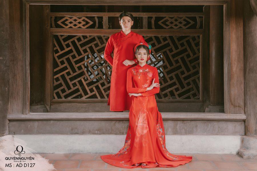 Áo dài cưới màu đỏ AD D127