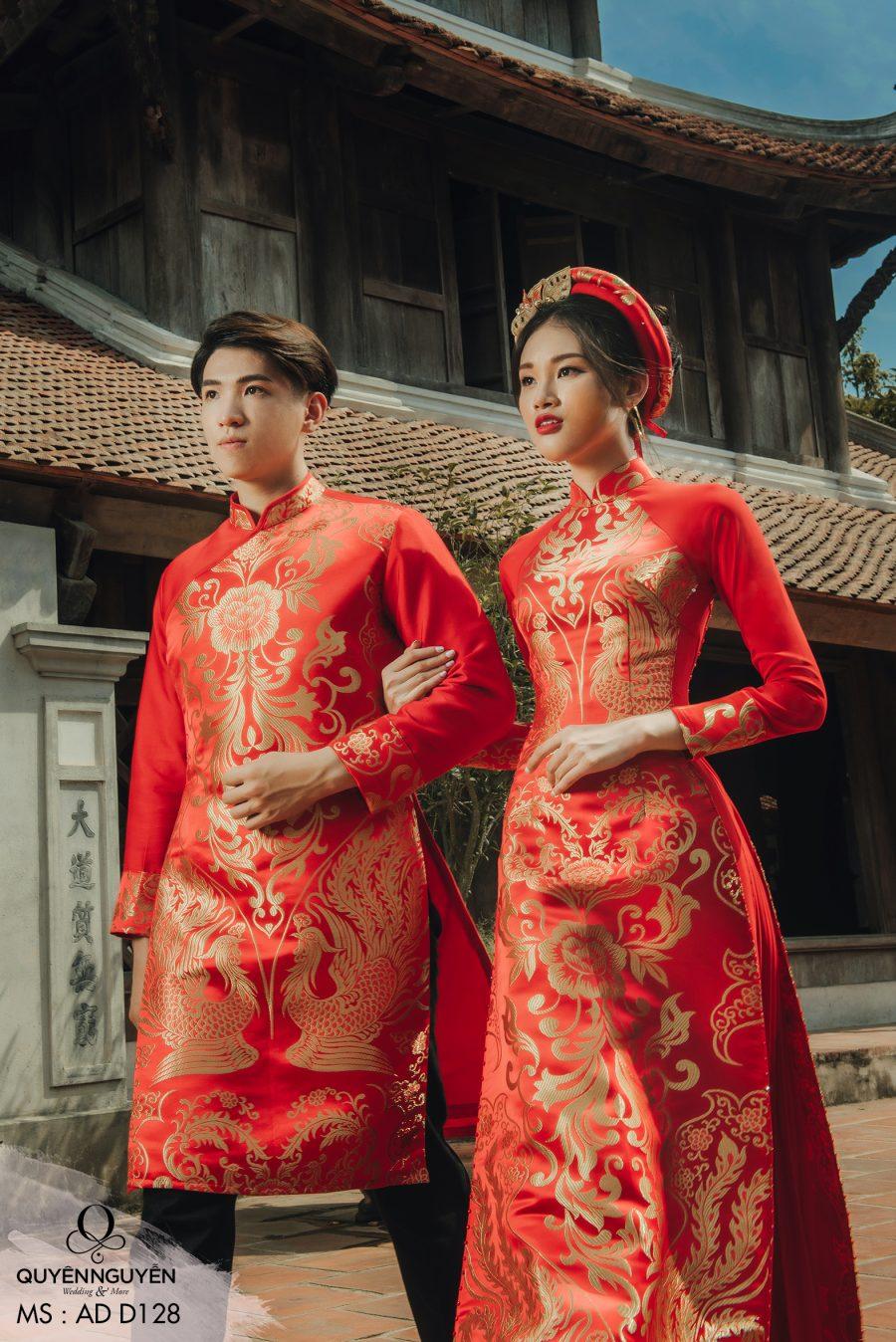Áo dài cưới màu đỏ AD D128