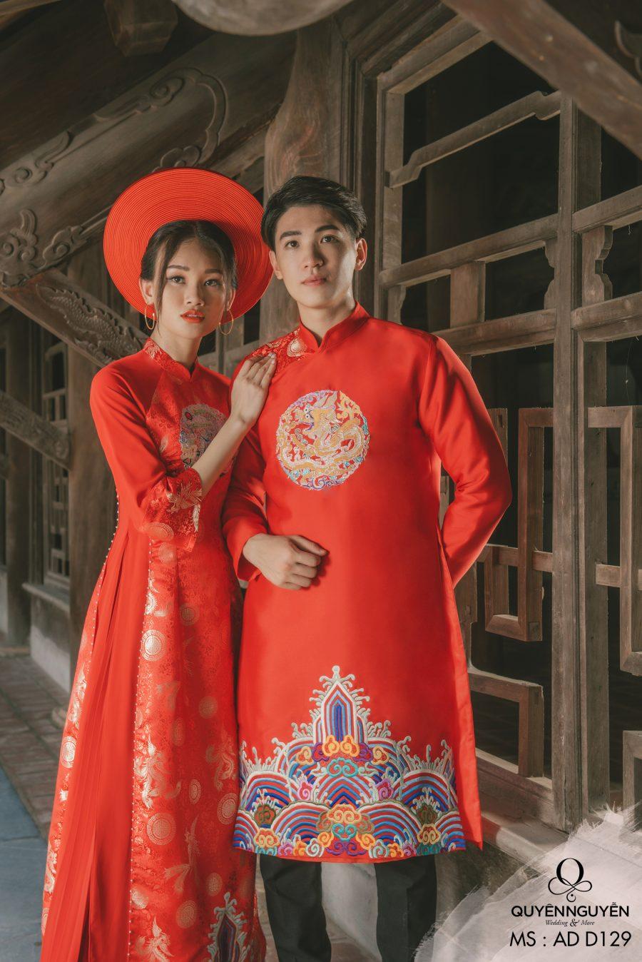 Áo dài cưới màu đỏ AD D129