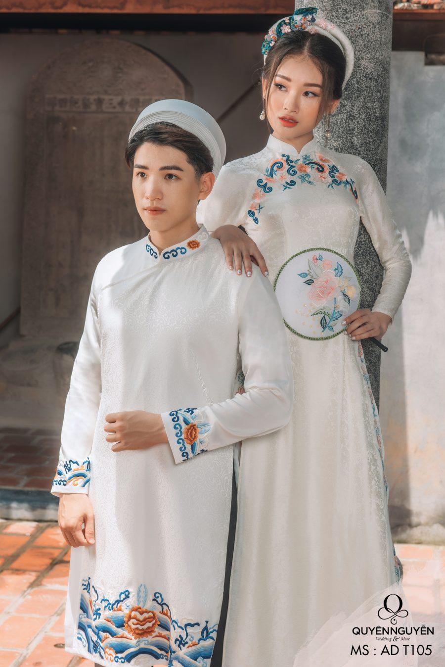 Áo dài cưới màu trắng AD T105