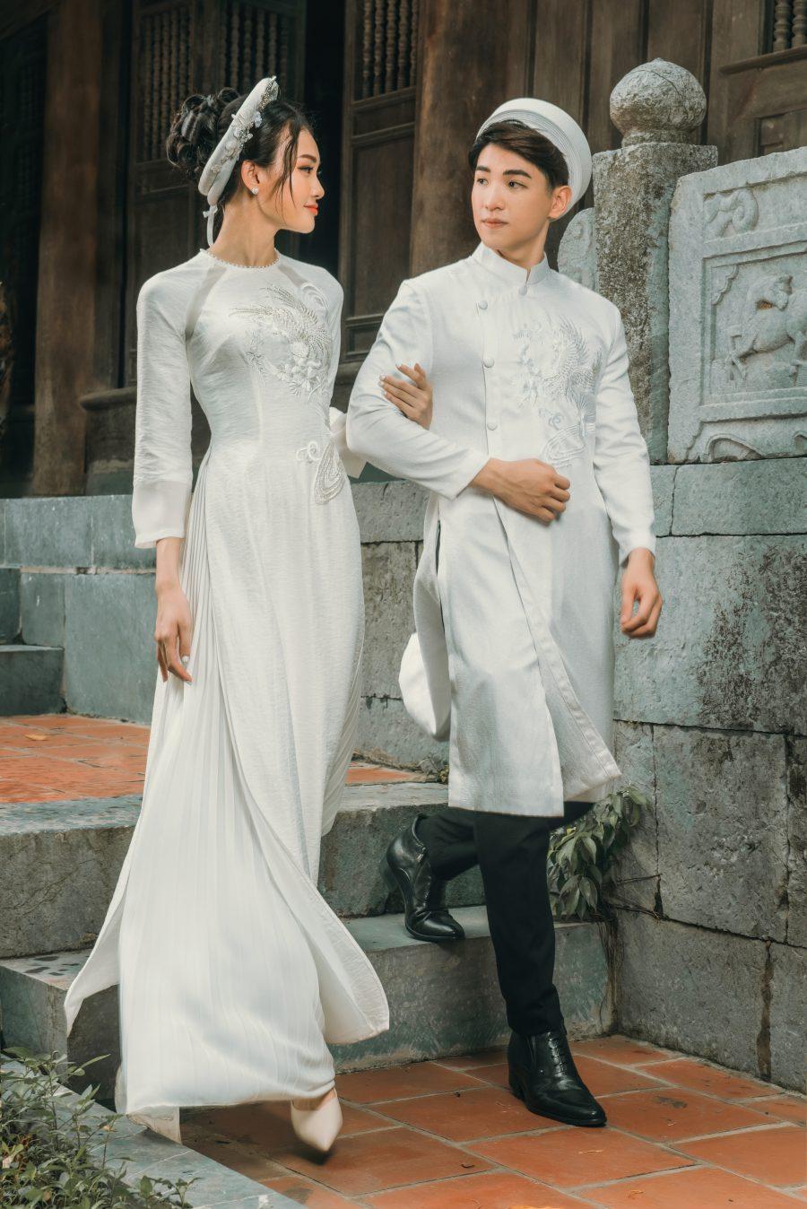 Áo dài cưới màu trắng AD T106
