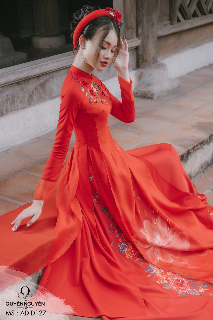 Áo dài đỏ hoa mẫu đơn ADD127