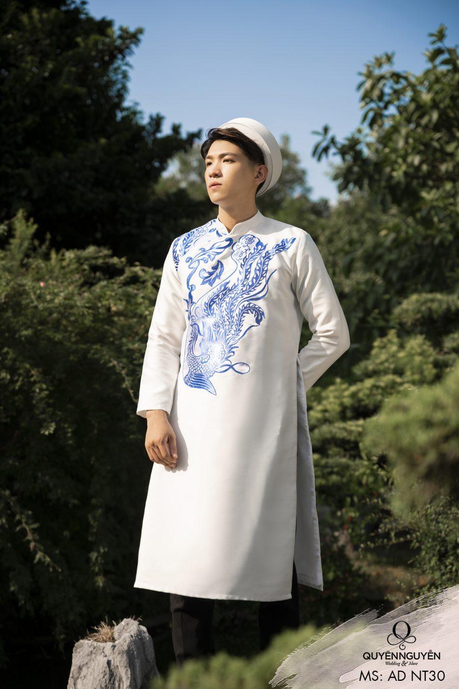 5 mẫu áo dài nam cách tân màu trắng được ưa chuộng nhất