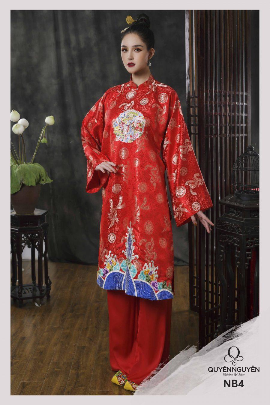 Áo dài màu đỏ họa tiết chim phượng hoàng NB4