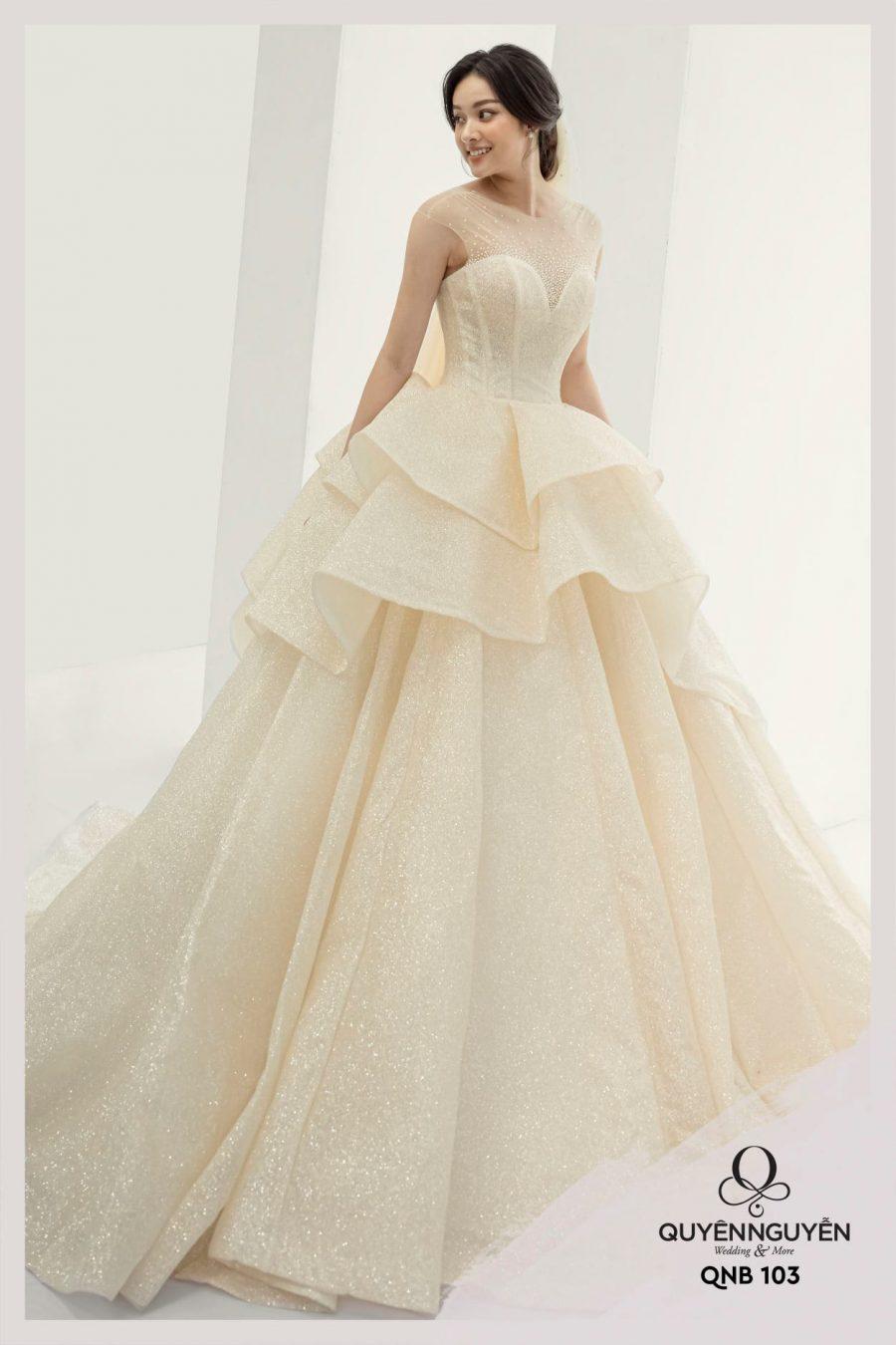 Váy cưới dáng bồng QNB103