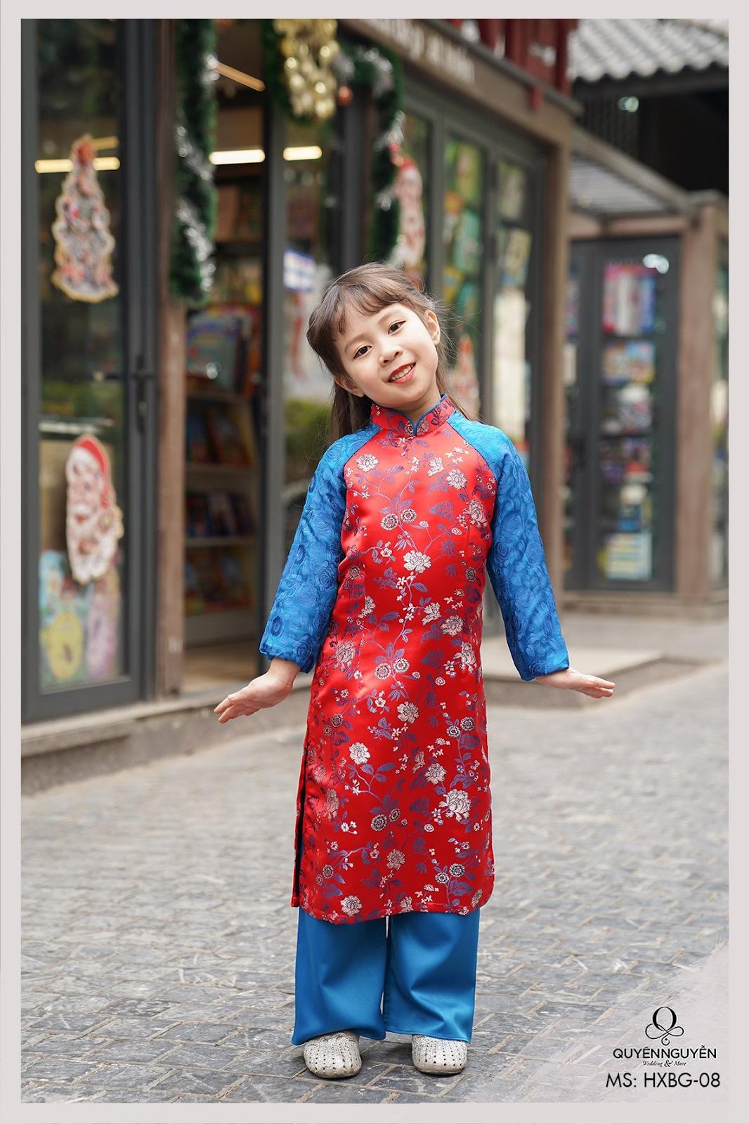 Áo dài trẻ em tông xanh phối đỏ in hoạ tiết 3D