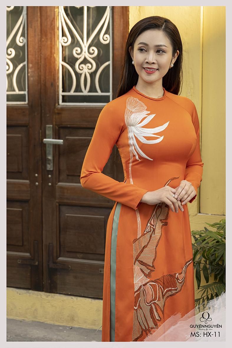 Áo cách tân nữ màu cam thêu hoa thiên điểu HX11