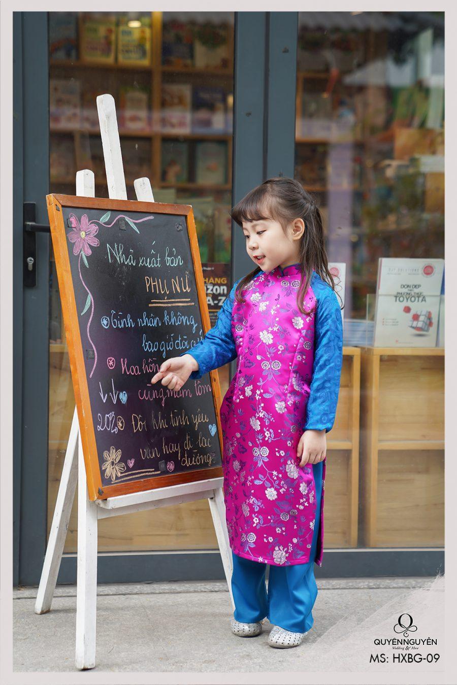 Áo dài  bé gái gấm hồng xanh HXBG09