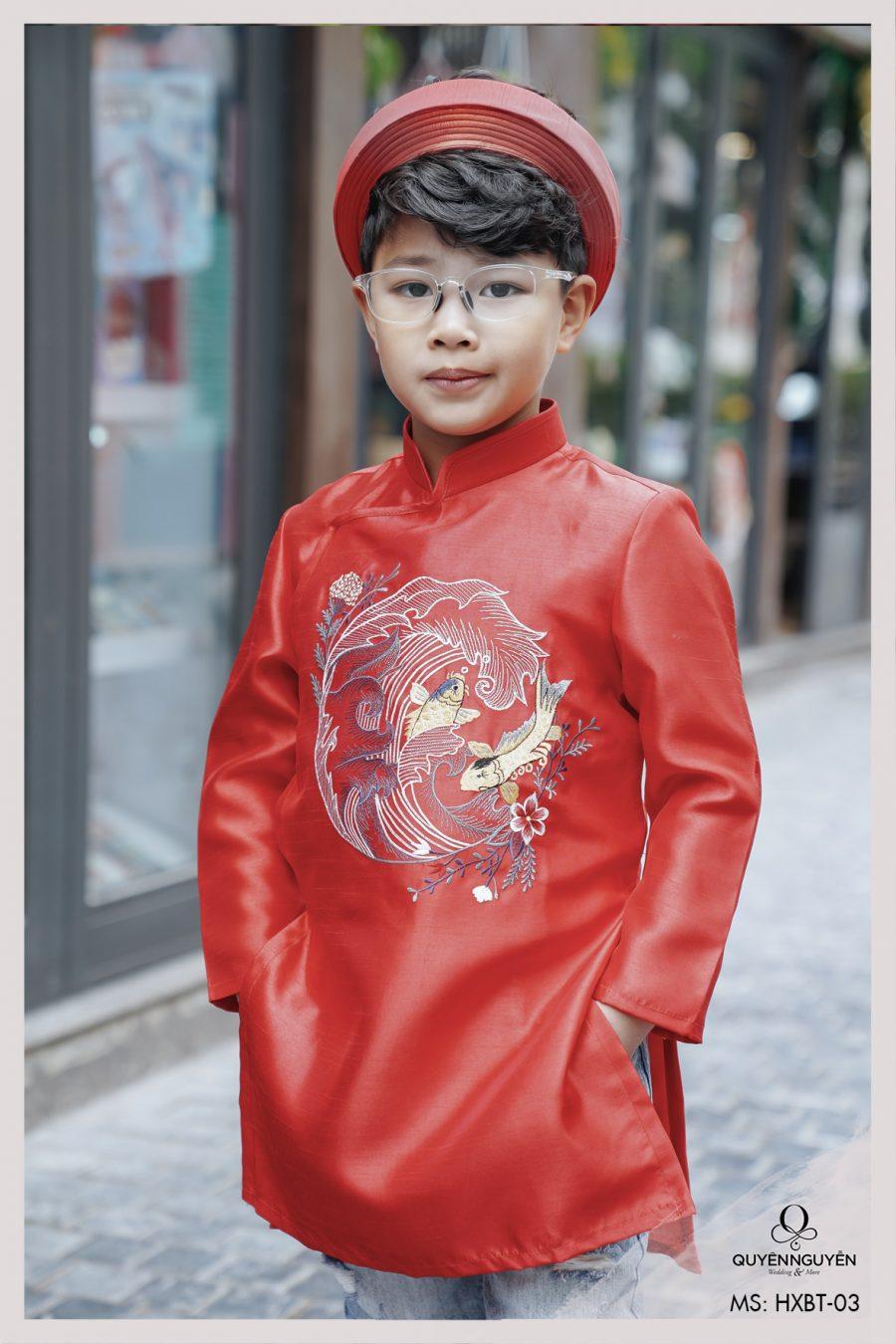 Áo dài bé trai đỏ thêu cá chép HXBT03