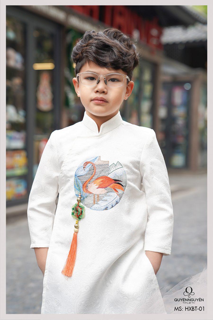Áo dài bé trai gấm trắng thêu hạc màu HXBT01
