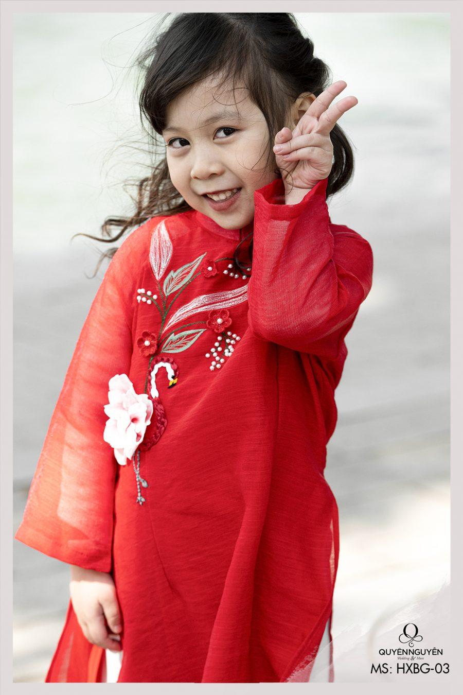 Áo dài cách tân bé gái đỏ thêu hồng hạc HXBG03