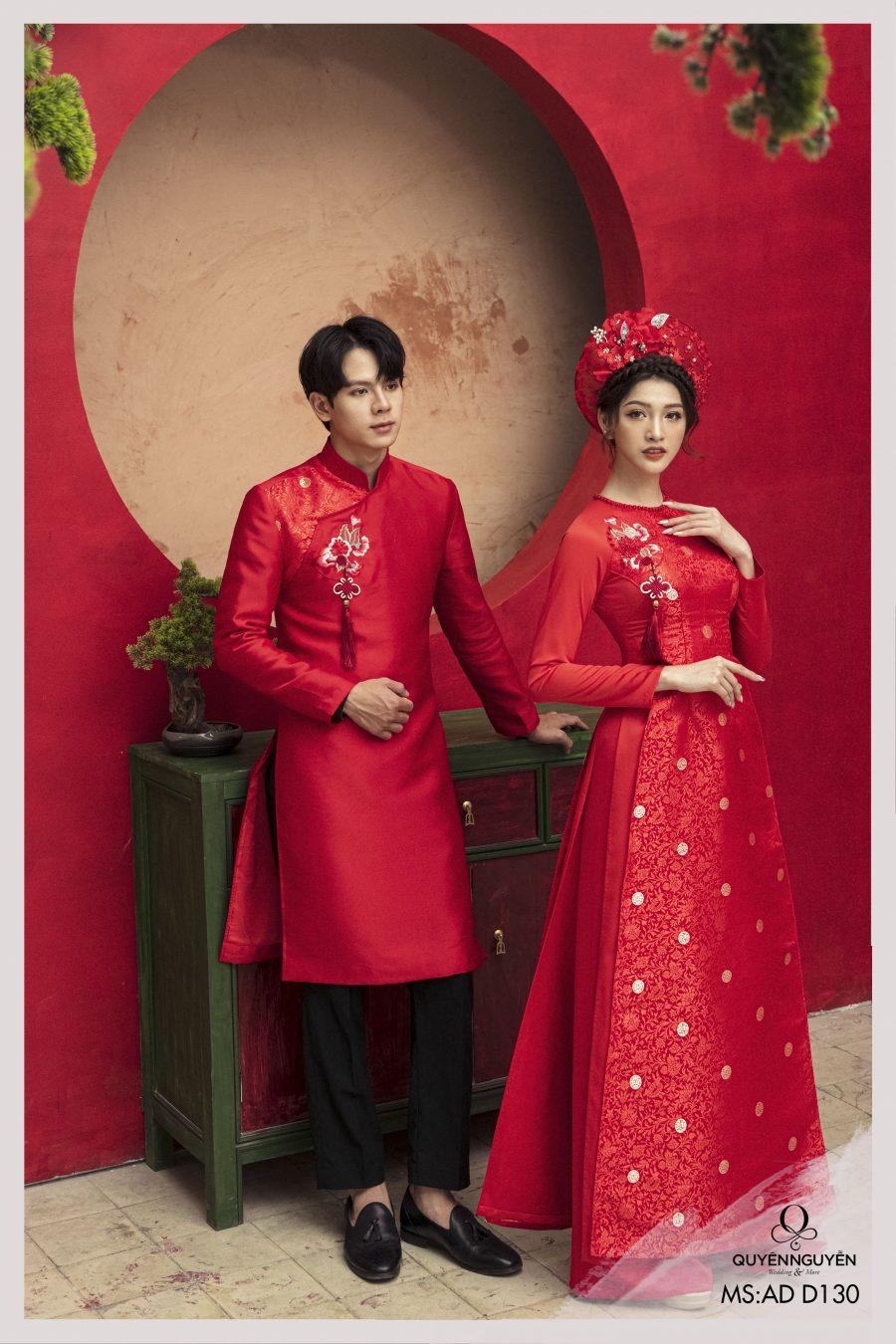 Áo dài đôi màu đỏ ADD130 thêu họa tiết hoa mẫu đơn bên vai