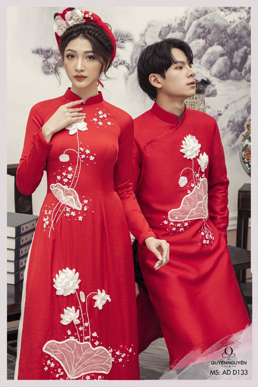 Áo dài cưới màu đỏ họa tiết sen trắng được đính nổi 3D ADD133
