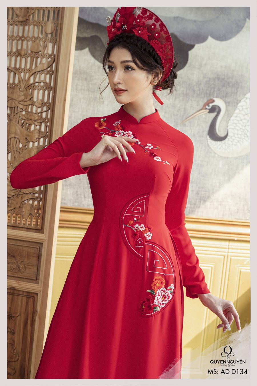 Áo dài cách tân màu đỏ in họa tiết hoa diên vỹ ADD134