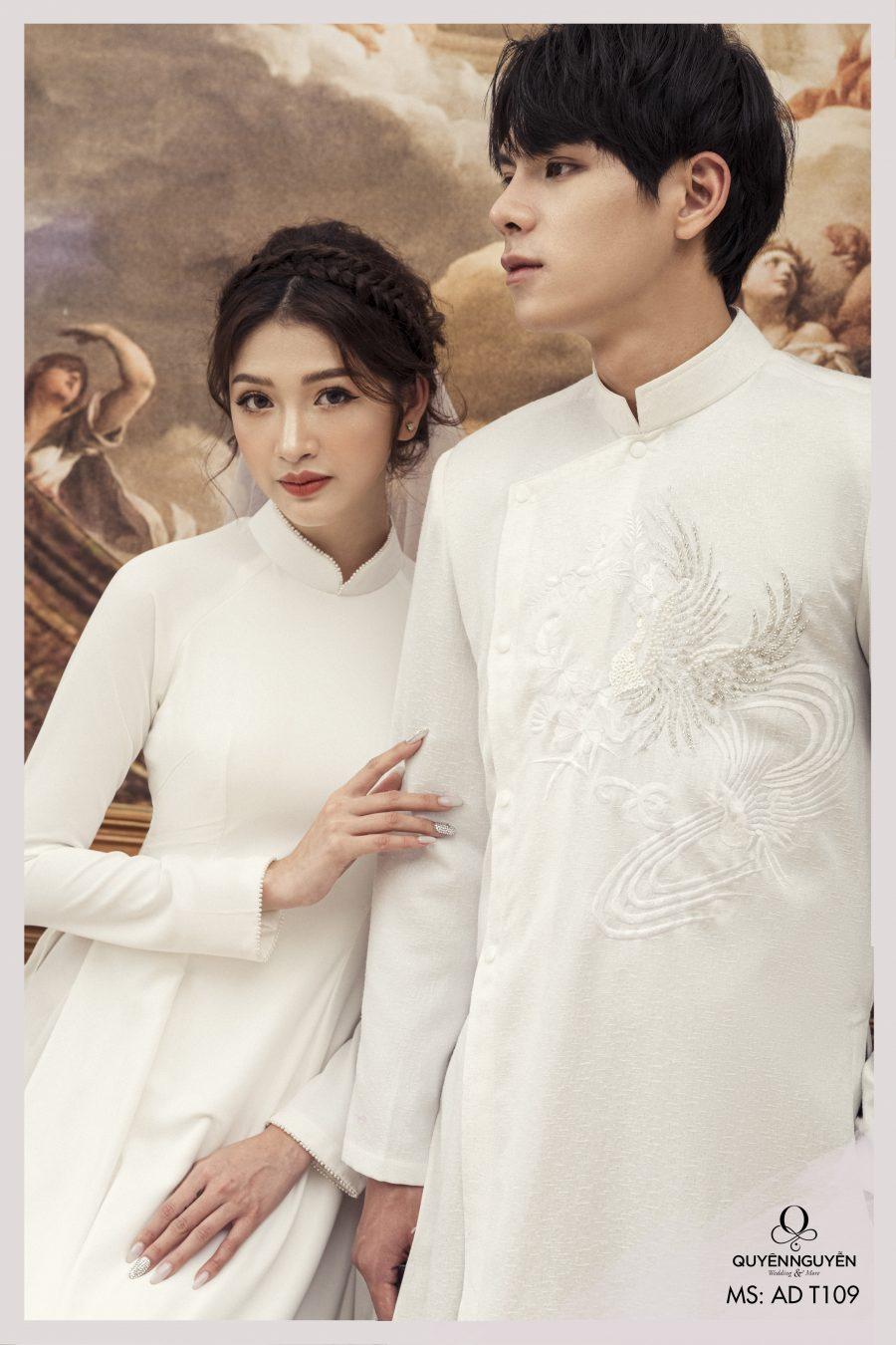 Áo dài cưới màu trắng thêu rồng ADT109
