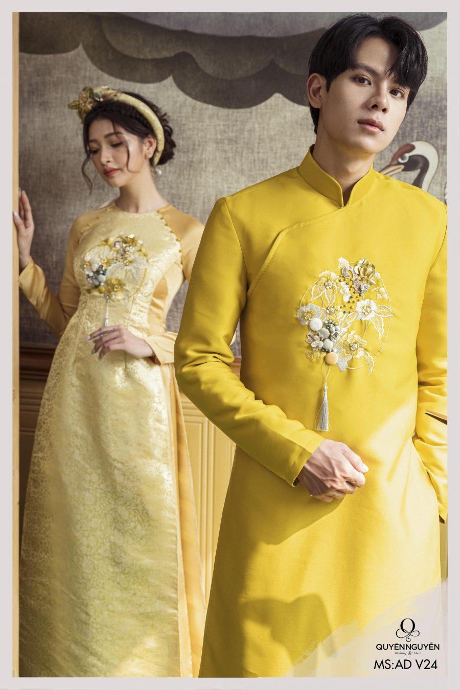 Áo dài cưới màu vàng họa tiết thêu kết hợp đính kết 3D ADV24