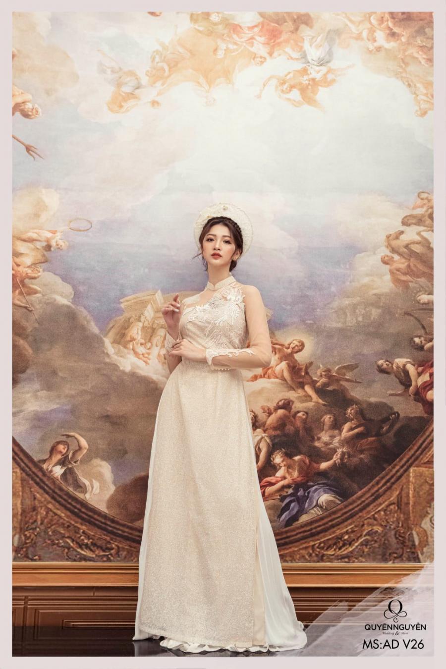 6 mẫu áo dài cưới 2021 màu trắng đẹp nhất hiện nay