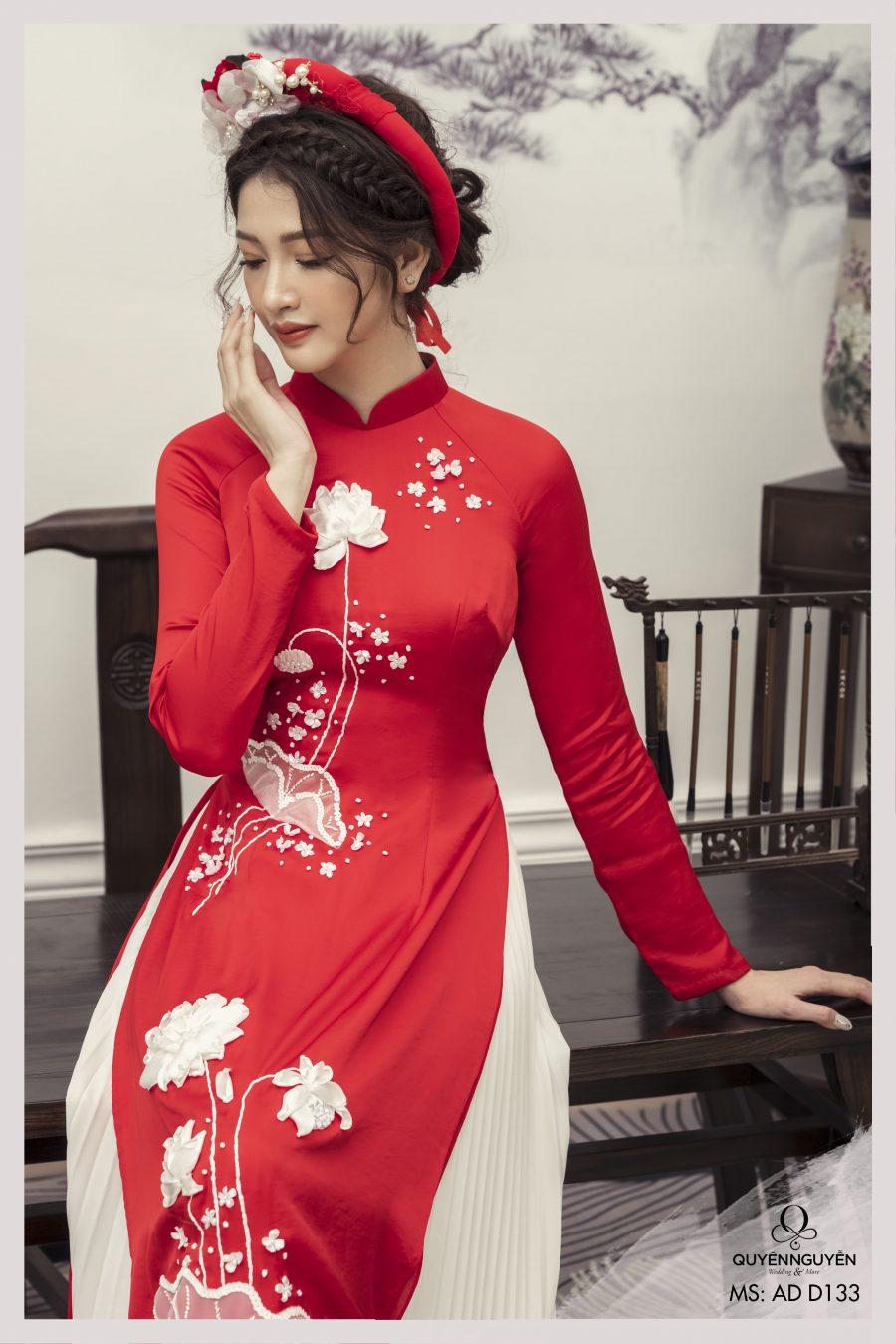 5 mẫu áo dài thêu hoa sen 3D được ưa chuộng nhất 2021